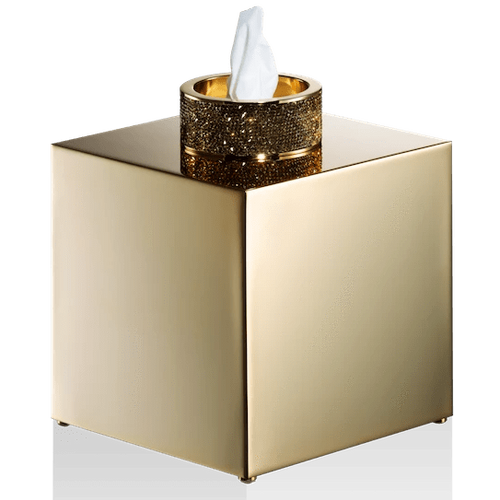 DECOR WALTHER Rocks KB Tissue Box in Gold with Swarovski Crystals