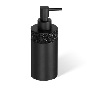 DECOR WALTHER SSP 1 Rocks Soap Dispenser in Matt Black and Swarovski Crystals