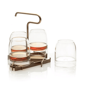 Fferrone Presenter Crystal Glass Whiskey and Brass Stand Set