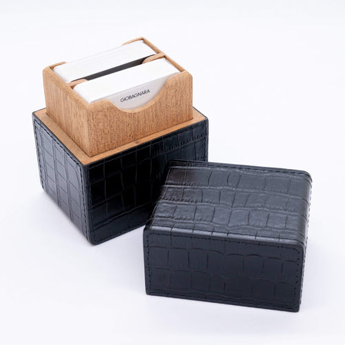 Giobagnara Naples Leather Playing Card Holder- Black Crocodile