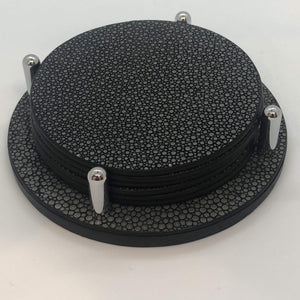 Giobagnara David Tao Coasters w/holder - Genuine Shagreen in Black