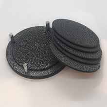 Load image into Gallery viewer, Giobagnara David coaster set w/holder shagreen black