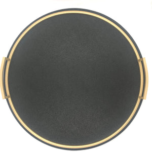 Giobagnara Defile Round Medium Tray in Calfskin Golf- Slate