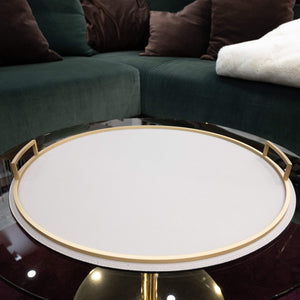 Giobagnara Defile Round Large Tray in Calfskin Deer- Stone