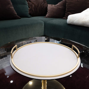 Giobagnara Defile Round Medium Tray in Calfskin Deer- Stone