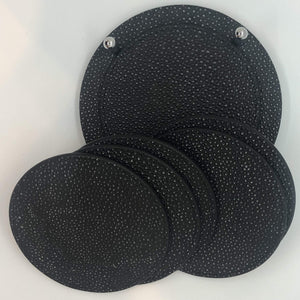 Giobagnara David Coasters w/holder- Black Calfskin