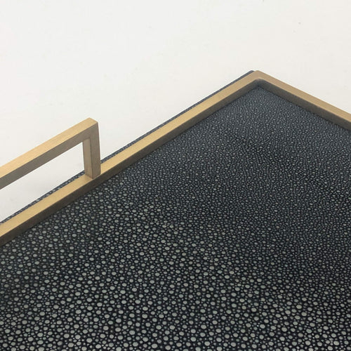 Giobagnara Defile Large Tray in Shagreen- Black