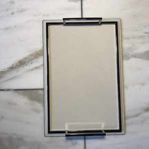 Defile Tray Rectangular Small in Off white/chrome