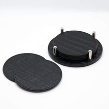 Load image into Gallery viewer, Giobagnara Homewares Giobagnara David Coasters w/holder- Black Crocodile