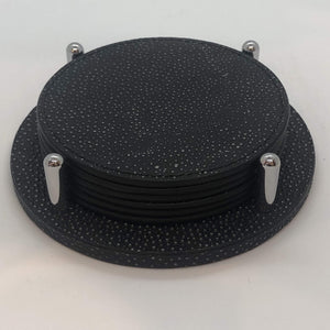 Giobagnara Leather David Coasters with holder in Printed Shagreen- Black