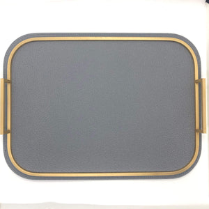 Giobagnara Bellini Medium Rectangle Tray in Grey Wild Boar and Brass- Storm Grey
