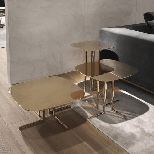 Elle Small Table 57H: Shiny Brass