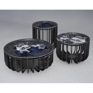 ibride- Medusa Outdoor Coffee Table Black with Sapphire Tray Small