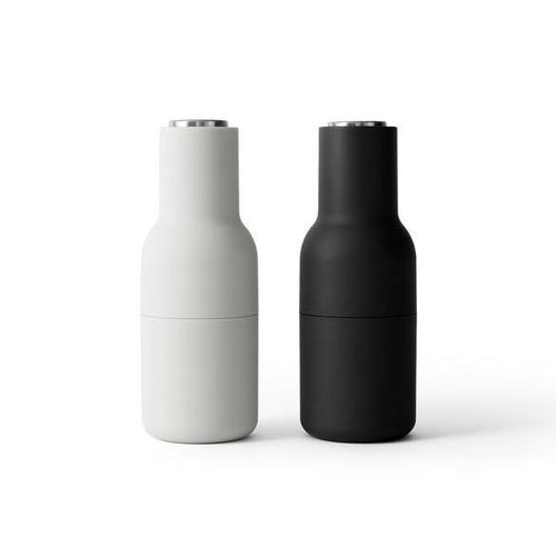 Menu Bottle Salt and Pepper Grinder 2 Pack- Ash and Carbon with Steel Lid