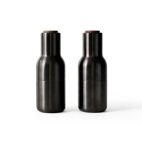 Menu Bottle Salt and Pepper Grinder 2 Pack- Bronzed Brass and Walnut