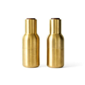 Menu Bottle Salt and pepper Grinder 2 Pack - Brushed Brass and Walnut
