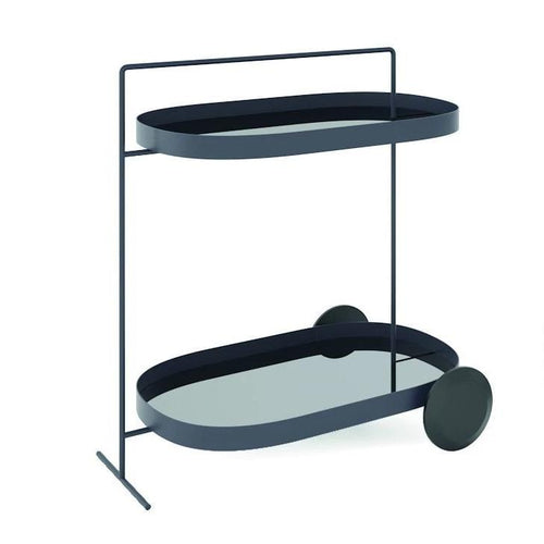 Minottiitalia Atollo Large Oval Bar Cart: Black with Black Mirror