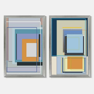 Blue and Orange Squares 2 Art Work
