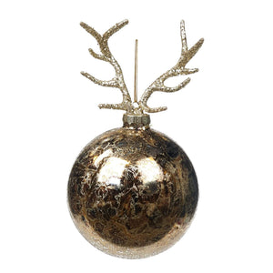 Christmas Antique Gold Glass Bauble with Antlers