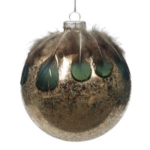 Christmas Antique Gold Glass Bauble with Green Feather Embellishment