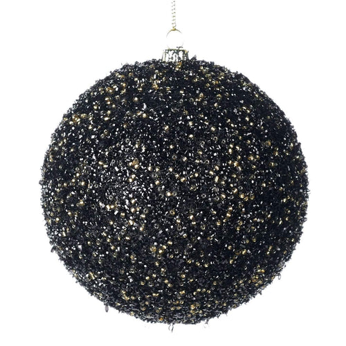 Christmas Beaded Bauble Ornament in Black and Gold