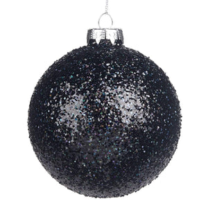 Christmas Black Glitter Embellished Glass Bauble