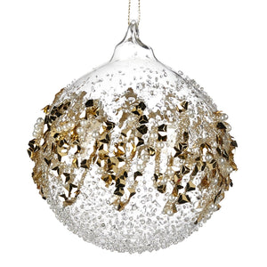 Christmas Clear Glass Bauble with Gold Foil Ornament