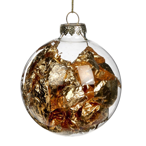 Christmas Clear Glass Bauble with Gold Leaf Interior