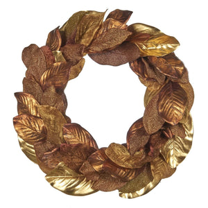 Christmas Copper & Gold Metallic Fig Leaf Wreath