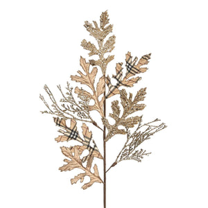 Christmas Cream & Black Tartan Glitter Leaf Stem Decoration - 80cm