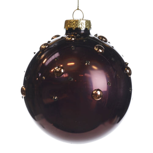 Christmas Dark Purple with Gold Dots Glass Bauble