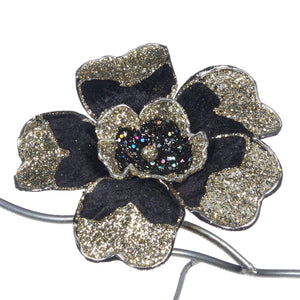 Christmas Fabric Glitter Flower Clip Ornament - 23cm