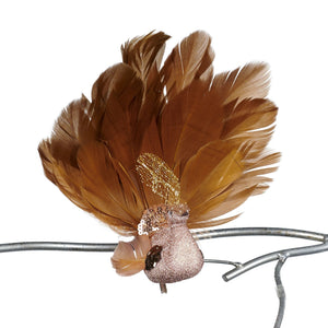 Christmas Feathered Peacock Clip Ornament