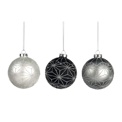 Christmas Glass Bauble with Geometric Star Embellishment