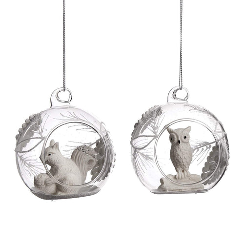 Christmas Glass bauble with Owl & Squirrel 8cm