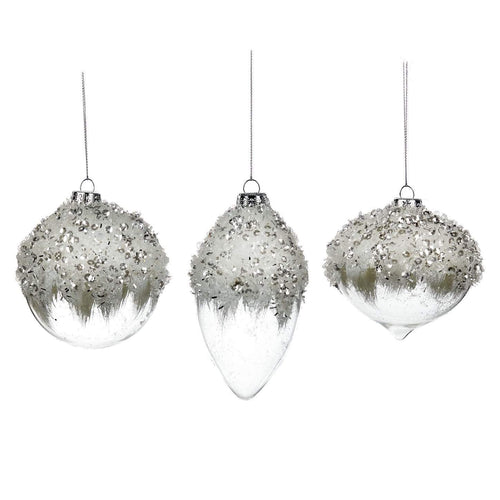 Christmas Glass Bauble with Sequin Tinsel Top 8m