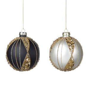 Christmas Glass Matt Bauble with Gold 8cm- Black and White