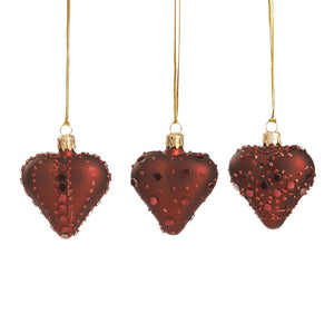 Christmas Glass Mirror Embellished Hearts Ornament