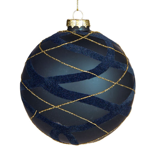 Christmas Glass Bauble with Navy Blue & Gold Tartan