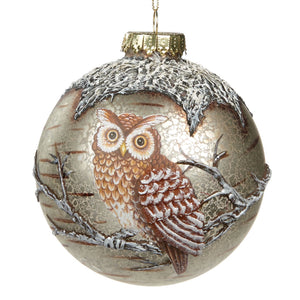 Christmas Glass Bauble with Owl Embellishment