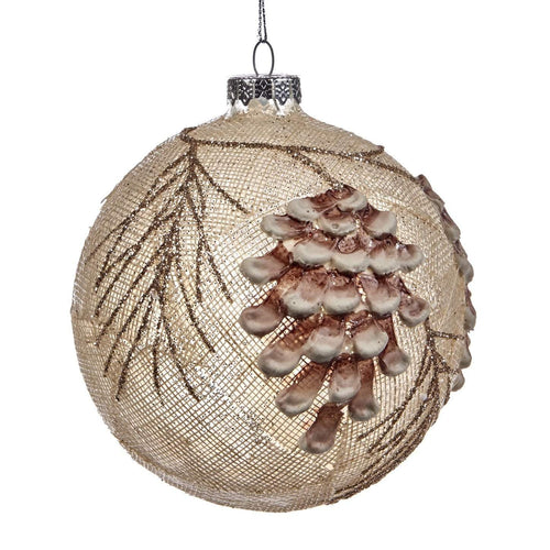 Christmas Glass Bauble with Pinecone Embellishment