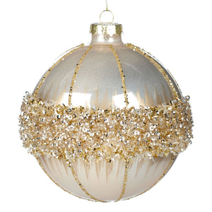 Christmas Glass Sequin Ring Bauble 10cm