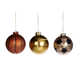 Christmas Glass Tennis Soccer & Basket Bauble Ornaments