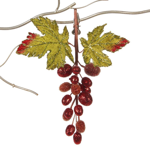 Christmas Glitter Grape Cluster on Clip Decoration - 29cm
