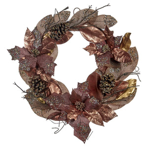 Christmas Glitter Leaf and Pinecone Wreath - Pink Champagne