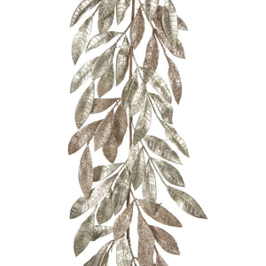 Christmas Glitter Leaf Garland in Champagne
