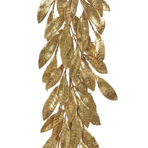 Christmas Glitter Leaf Garland in Gold