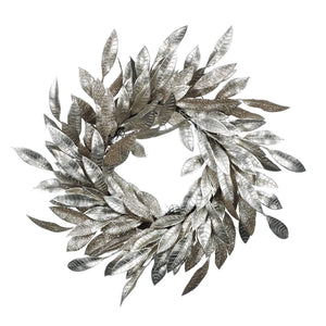 Christmas Glitter Leaf Wreath in Champagne