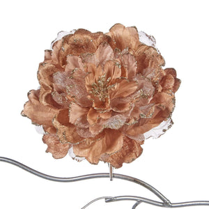 Christmas Glitter Peony Clip Ornament - Rose Pink