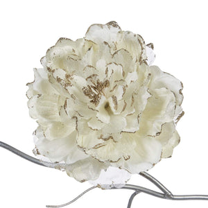 Christmas Glitter Peony Clip Ornament - Cream Gold